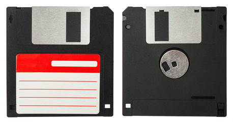 Front and back of a black floppy disk