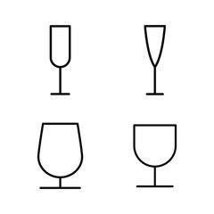 thin line wine glass icons on white background