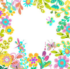Bright colorful floral background for beautiful design