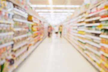 Supermarket aisle with product shelves abstract blur defocused background