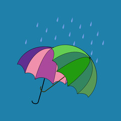 Umbrella two on blue background