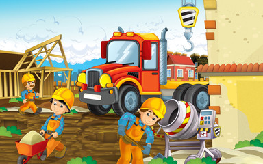 cartoon scene of a construction site with heavy truck smiling - different people doing many industry jobs - illustration for children