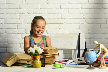 Girl with books, globe and colorful stationery on desk