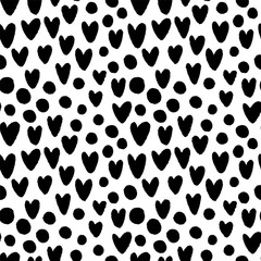 Ink hand drawn hearts and circles seamless pattern