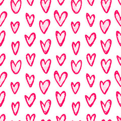 Ink hand drawn seamless pattern with doodle hearts
