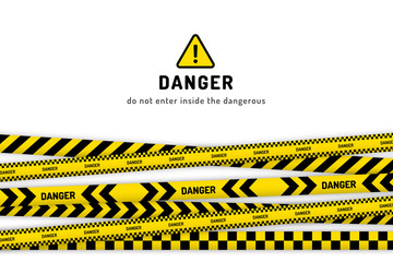 Danger under construction website page with black and yellow striped borders vector illustration. Border stripe web, warning banner template