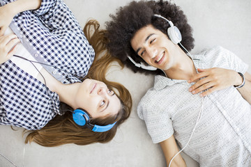 Young people listening music