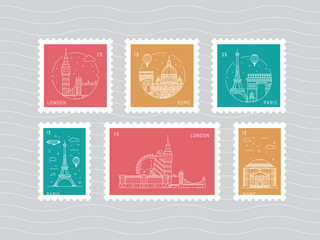 A set of postage stamps vector, flat, depicting European architectural landmarks in the style of linear. Vector templates with buildings, Paris, London, Rome.