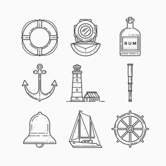 Set of objects on marine theme on white background. Linear icons. Images lighthouse, diver helmet, lifebuoy, bottle of rum, spyglass, anchor, bell, ship steering wheel and sailboat.
