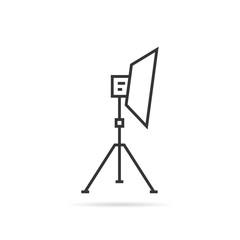 thin line soft box on tripod icon