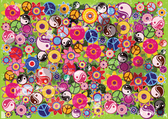 abstract vector grunge hippies background with flowers and colorful icons