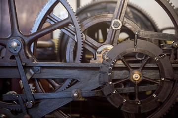 Part of the three-train clock, which drives the hands of Big Ben, is seen in the mechanism room, which will be dismantled and cleaned during the renovation work on the Elizabeth Tower at the Palace of Westminster, London