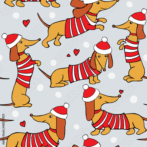 christmas seamless pattern with image cartoon dogs dachshund in
