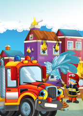 cartoon illustration with fire fighter and car at work putting out the fire