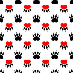 Cartoon dog paw prints - seamless pattern. Red heart on a white background.