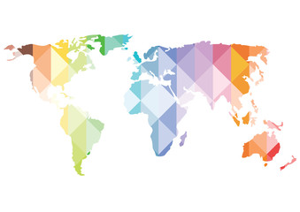 bright vector world map silhouette of colorful triangles isolated on white background