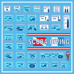 Set of signs and symbols of scuba diving, Signs and symbols for scuba diving safety rules and regulations, Create in new design and easy for people to understand