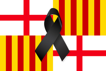 Barcelona flag with black ribbon vector