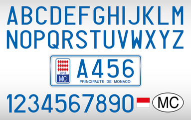 Monaco Principate car plate, letters, numbers and symbols