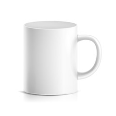 White Mug Vector. 3D Realistic Ceramic Or Plastic Cup Isolated On White Background. Classic Cafe Cup Mock Up With Handle Illustration. Good For Business Branding, Corporate Identity