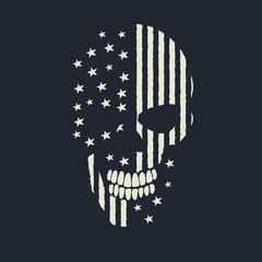 skull made like the american flag