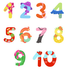Numbers like woman symbols / Solid fill vector number set