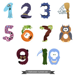 Numbers like symbols of the Halloween / Solid fill vector cartoon illustration