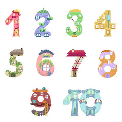 Numbers like fairy houses / Solid fill vector cartoon illustration