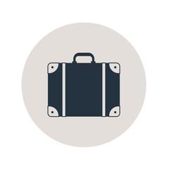 Icono plano maleta en circulo gris
