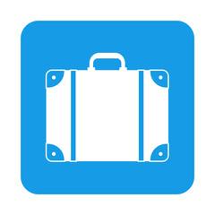 Icono plano maleta en cuadrado azul