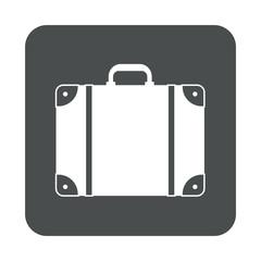 Icono plano maleta en cuadrado gris
