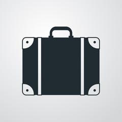 Icono plano maleta en fondo degradado