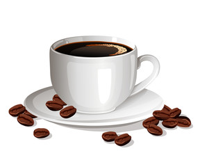 cup of black coffee with coffee beans