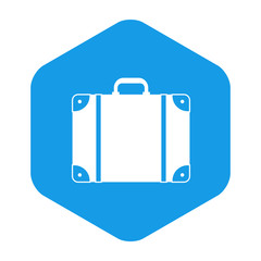 Icono plano maleta en hexagono azul