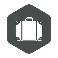 Icono plano maleta en hexagono gris