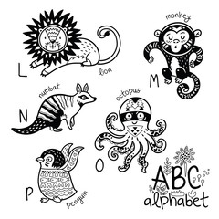 Animals alphabet L - P for children. Vector coloring page