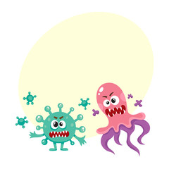 Set of ugly virus, germ and bacteria characters, cartoon vector illustration with space for text. Collection of ugly, scary bacteria, virus, germ monsters with human faces and sharp teeth