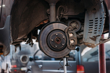 Car with exposed brake shoe