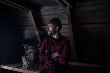 Man in a cabin