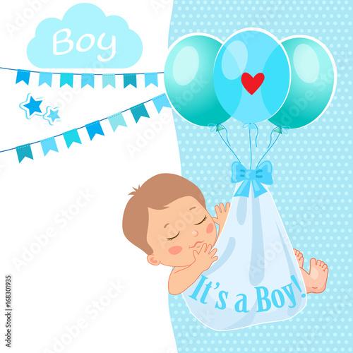 baby boy shower card vector illustration it s a boy kids