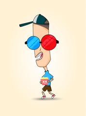Funny Sticker Boy, Illustration Vector