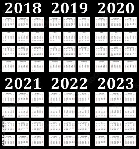 Six year calendar - 2018, 2019, 2020, 2021, 2022 and 2023