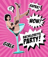 Pin Up Girl In Martini Glass.