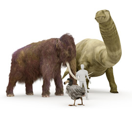 A 3-D illustration depicting three popular/extinct animals; the Brontosaurus, the Woolly Mammoth and the Dodo Bird next to an average human for size comparison.