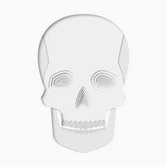 3d abstract paper cut illlustration of white skull. Vector colorful template in carving art style.