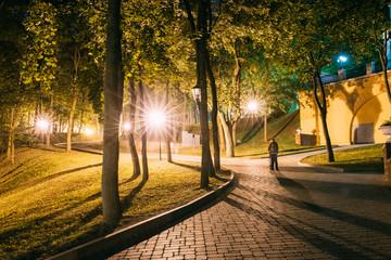 Gomel, Homiel, Belarus. Lighted Walkways Or Roads, Greenwood At Night In City Park