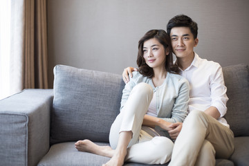 Happy young couple sitting on sofa at home