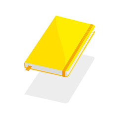yellow notebook on white background blank paper cover vector illustration