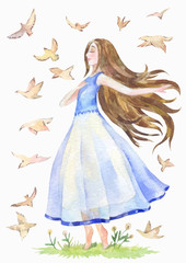 nice girl in a blue transparent dress is walking barefoot and dreaming. Birds fly around. Watercolor vector illustration
