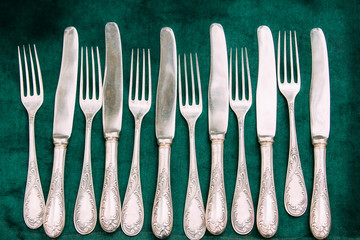 Retro, Old, Vintage Cutlery On Green Background. Top View